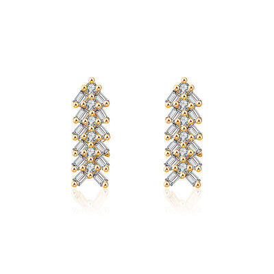 18k Gold Arrow Shape Rectangle Diamond Earring - Genevieve Collection