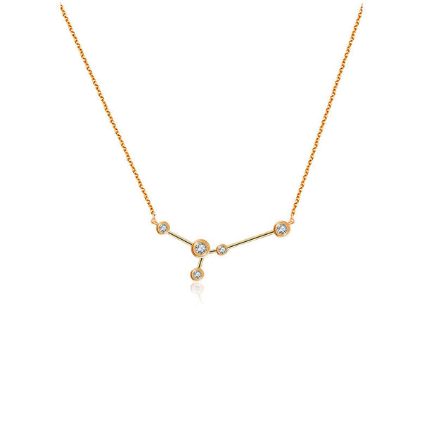 Cancer Zodiac Constellation Necklace 18k Gold & Diamond - Genevieve Collection