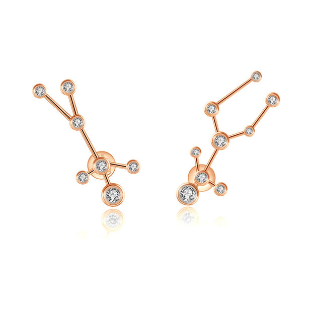 Gemini Zodiac Constellation Earring 18k Gold & Diamond