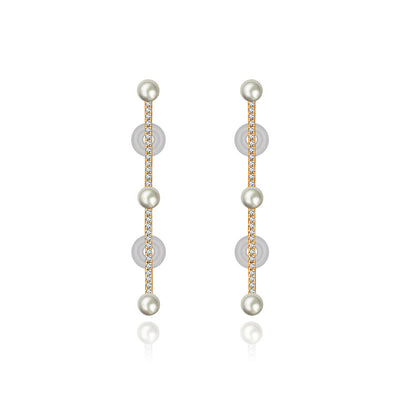 18k Gold Vertical Line Diamond Ear Cuff with Pearl - Genevieve Collection