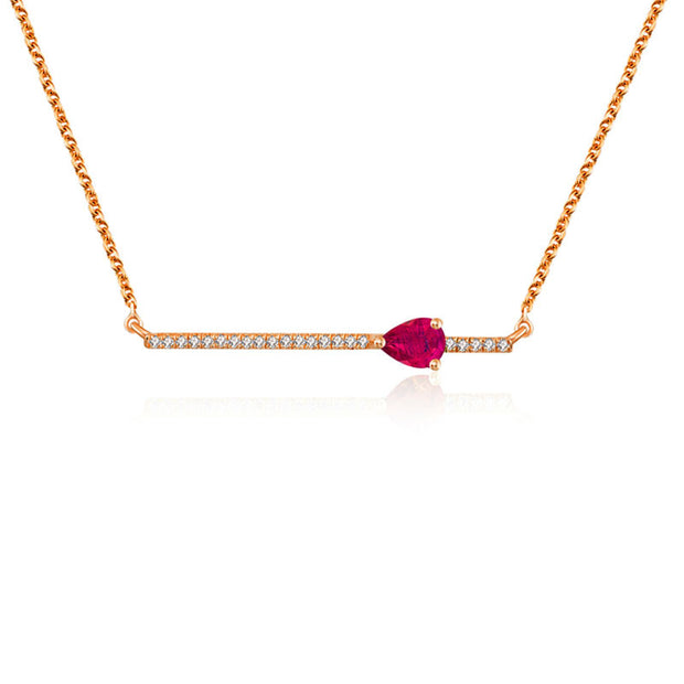 18k Gold Line Diamond Necklace with Drop Shape Ruby - Genevieve Collection
