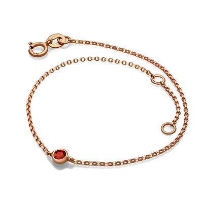 18k Gold January Birth Stone Garnet Bracelet - Genevieve Collection