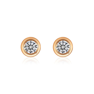 18k Gold Single Diamond Stud Earring - Genevieve Collection