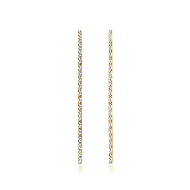18k Gold Long Vertical Line Diamond Ear Cuff - Genevieve Collection