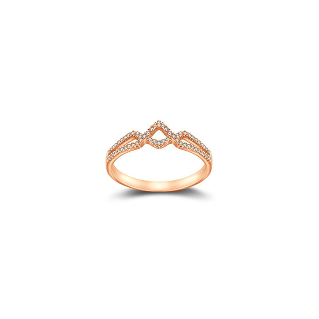 18k Gold Rhombus Shape Diamond Ring - Genevieve Collection