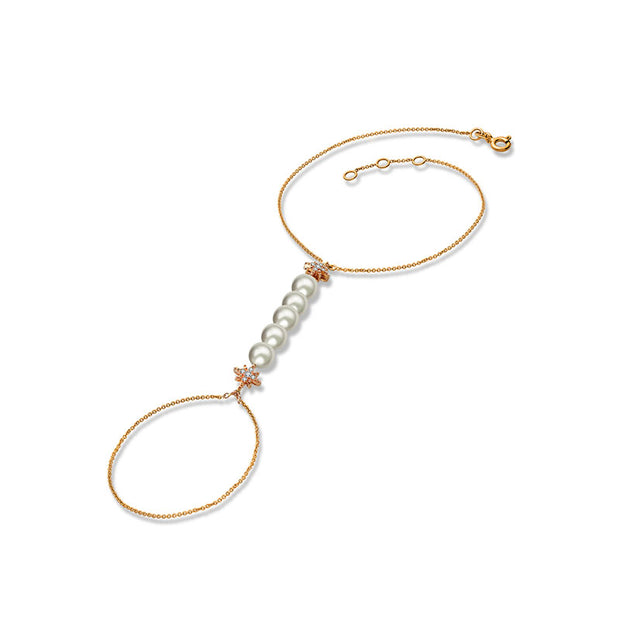 18k Gold Star Shape with Line Pearl 2 Way Diamond Bracelet - Genevieve Collection