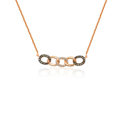 18k Gold Chain Shape Diamond Necklace With Mixed Gold - Genevieve Collection