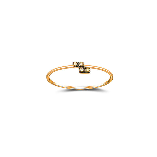 18k Gold Tetris level Z-Block Diamond Ring With Rose Gold - Genevieve Collection