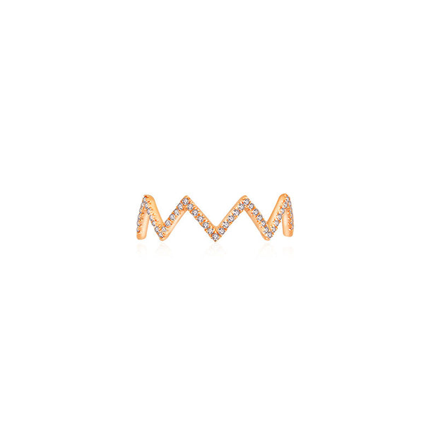 18k Gold Zigzag Diamond Ring