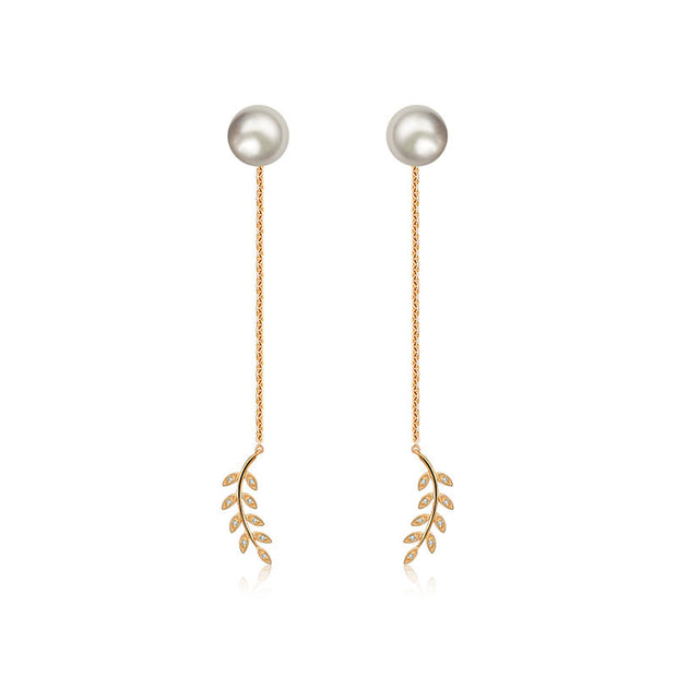 18k Gold Greek Leaf Dangling Diamond Earring With Pearl - Genevieve Collection