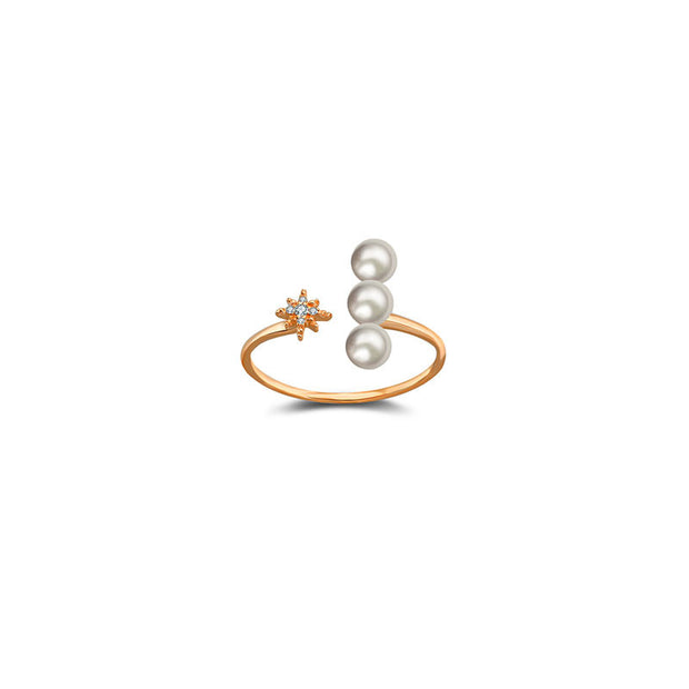 18k Gold Star Open Diamond Ring With Pearl - Genevieve Collection