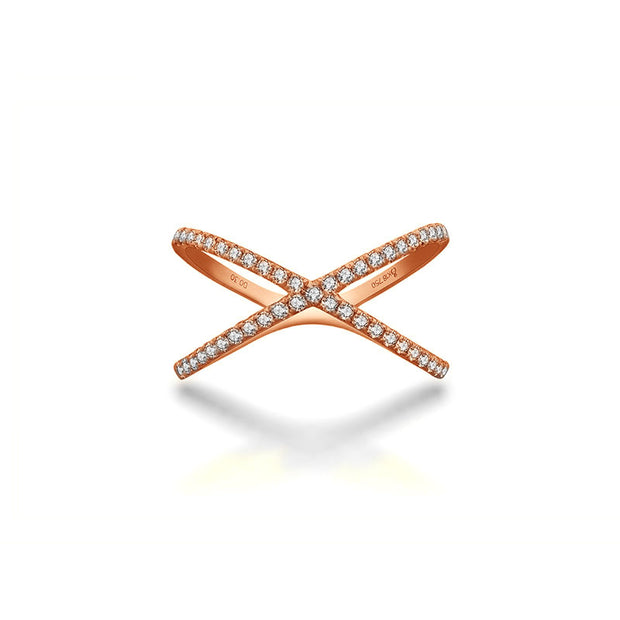 18k Gold Cross Diamond Ring - Genevieve Collection