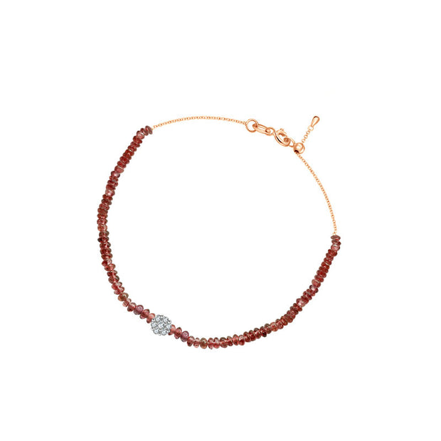 18k Gold Ruby Beaded with Flower Shape Diamond Bracelet - Genevieve Collection