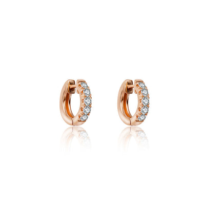 18k Gold Hoop Diamond Earring - Genevieve Collection