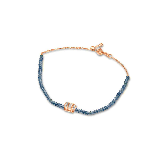 18k Gold Sapphire Beaded with Square Shape Diamond Bracelet