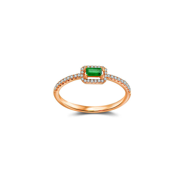 18k Gold Rectangle Shape Emerald Ring Surrounded by Diamond - Genevieve Collection