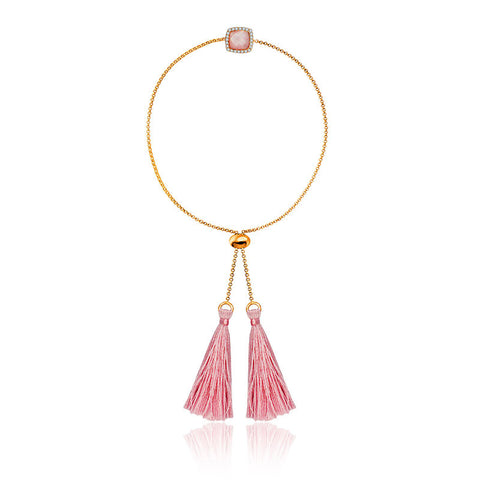 Pink Shell Diamond Bracelet with Pink Tassel