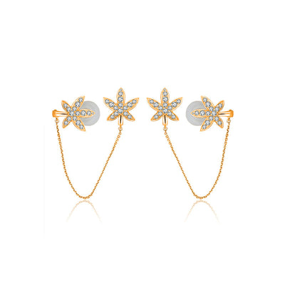 18k Gold Leaf Shape with Chain Diamond Ear Cuff & Earring - Genevieve Collection
