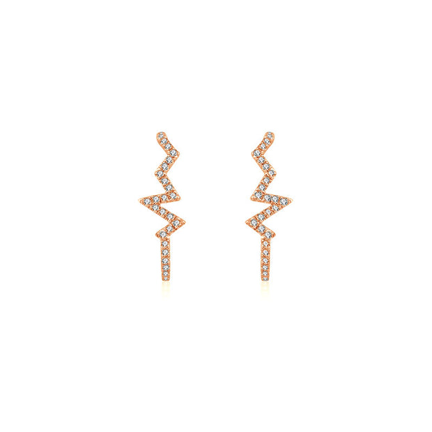18k Gold Lightning Pattern Half Hoop Diamond Earring - Genevieve Collection