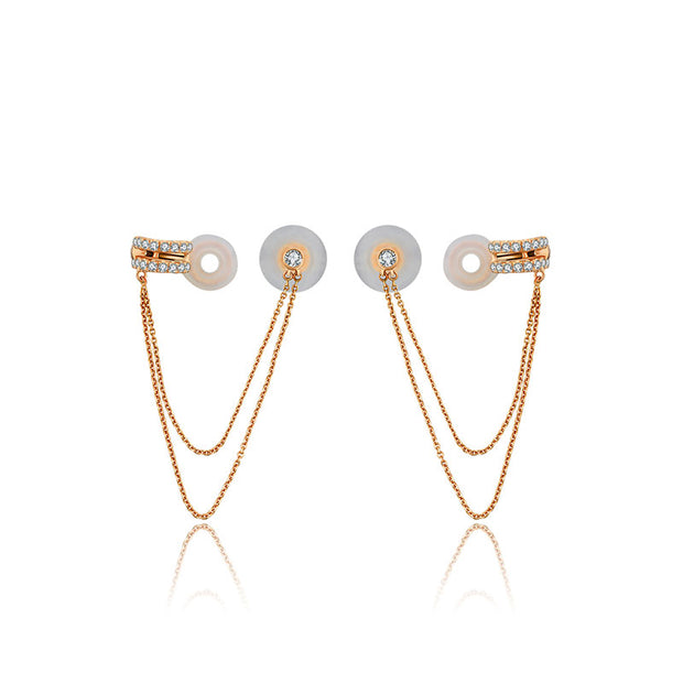 18k Gold Double Chain Diamond Ear Cuff & Earring - Genevieve Collection