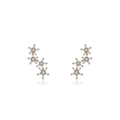 Irregular Order Flower Shape Diamond Earring