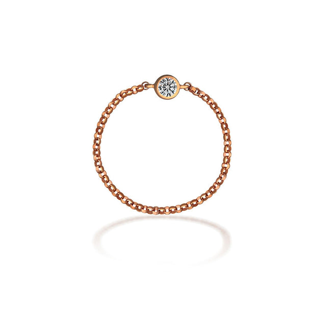18k Gold Single Diamond Chain Ring - Genevieve Collection