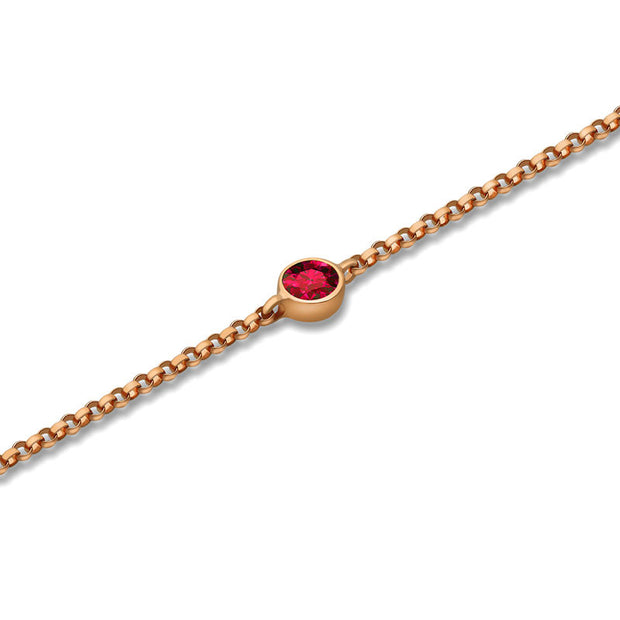 18k Gold January Birthstone Garnet Bracelet - Genevieve Collection