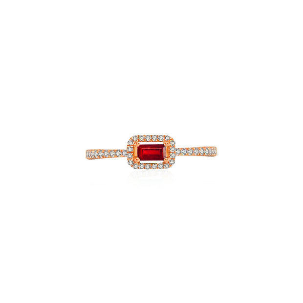 18k Gold Rectangle Shape Ruby Ring Surrounded by Diamond - Genevieve Collection