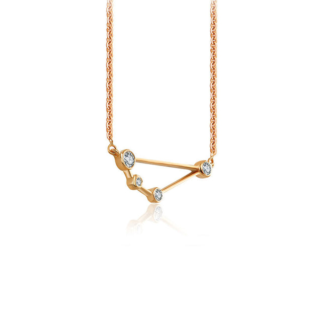 Capricorn Zodiac Constellation Necklace 18k Gold & Diamond - Genevieve Collection