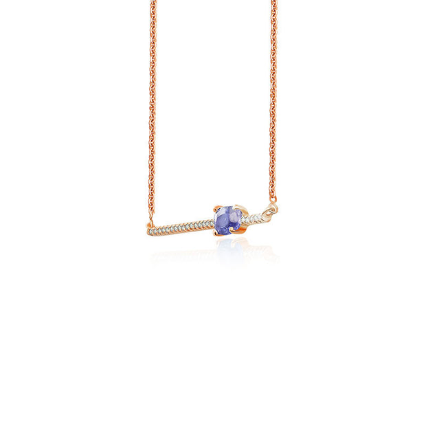18k Gold Line Diamond Necklace with Sapphire - Genevieve Collection