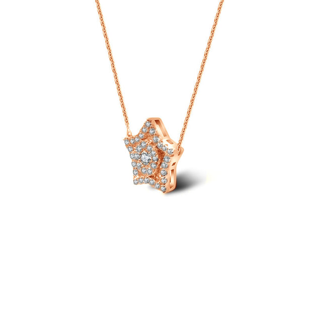 18k Gold Star Shape Diamond Necklace - Genevieve Collection