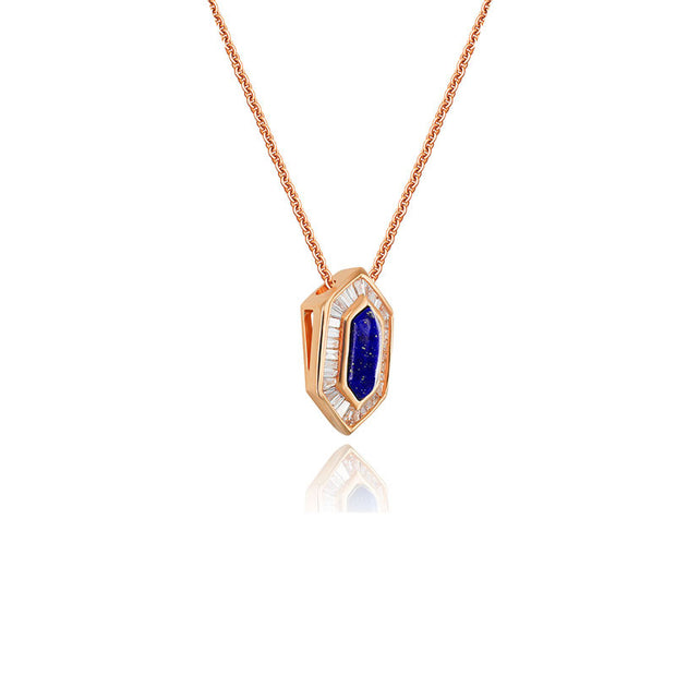 18k Gold Hexagonal Shape Lapis Diamond Necklace - Genevieve Collection