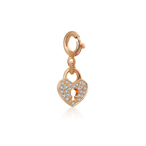 18k Gold Heart Shape Lock Diamond Charms - Genevieve Collection