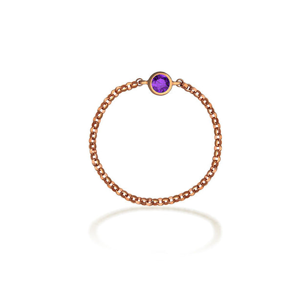 18k Gold February Birthstone Amethyst Chain Ring - Genevieve Collection