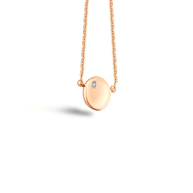 18k Gold Round Pendant Diamond Necklace - Genevieve Collection