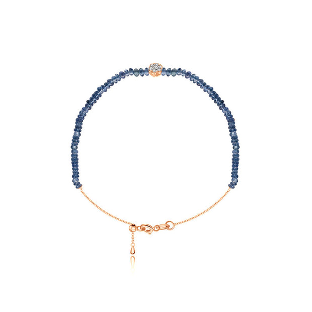18k Gold Sapphire Beaded with Flower Shape Diamond Bracelet