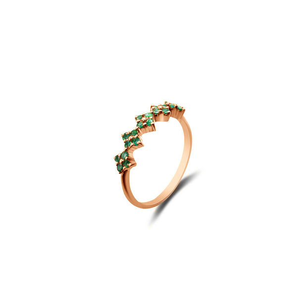 18k Gold Square Pattern Emerald Ring