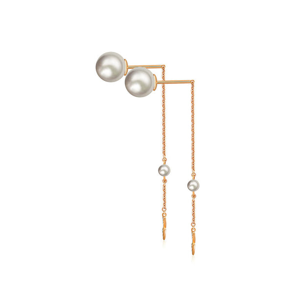18k Gold Double Arrow Chain Diamond Earring With Pearl - Genevieve Collection