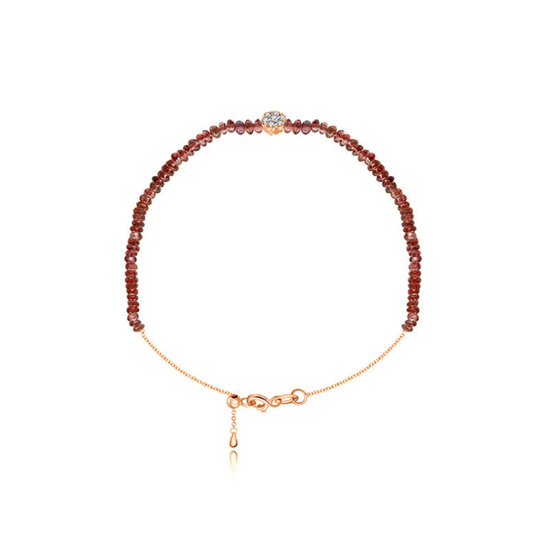 18k Gold Ruby Beaded with Flower Shape Diamond Bracelet