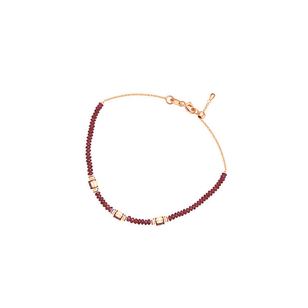18k Gold Triple Ruby Diamond Bracelet with Beaded Ruby