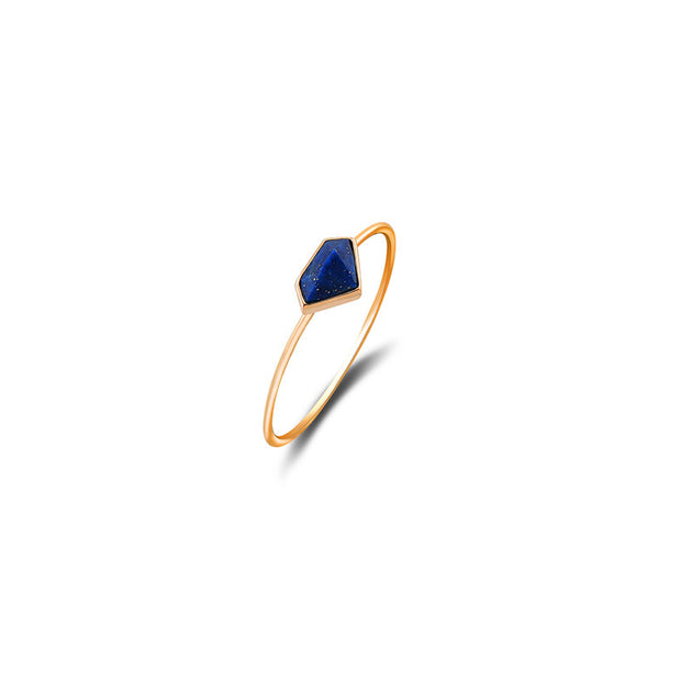 18k Gold Diamond Shape Lapis Ring - Genevieve Collection