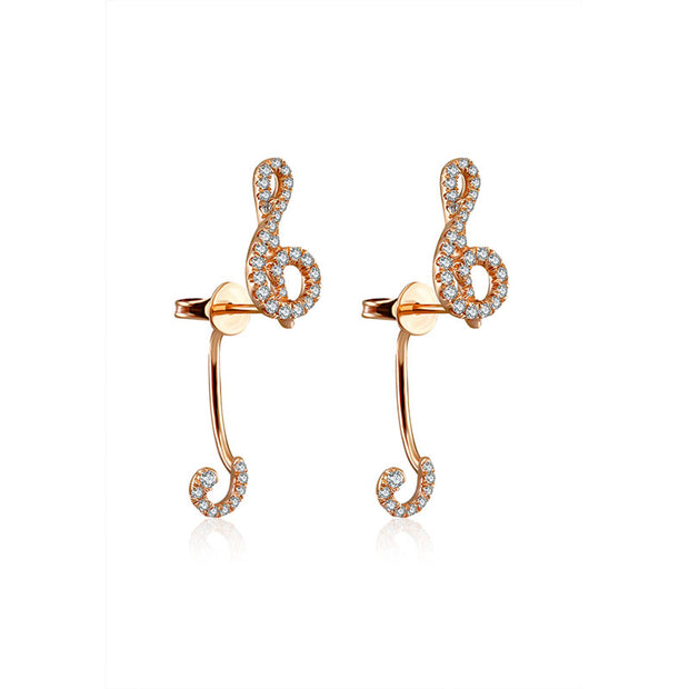 18k Gold G Clef Shape Diamond Earring - Genevieve Collection
