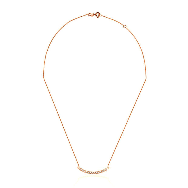 18k Gold Curved Line Diamond Necklace - Genevieve Collection