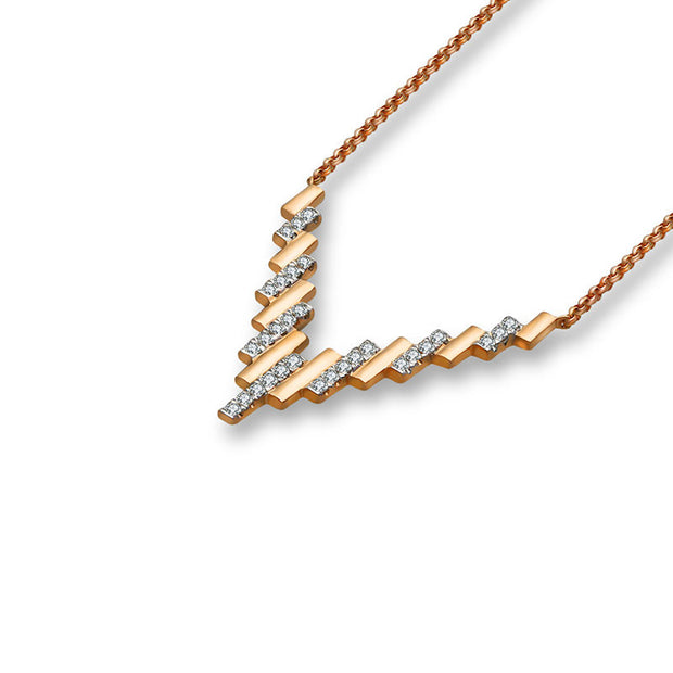 18k Gold Multi Rectangle Diamond Necklace - Genevieve Collection