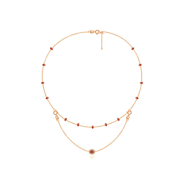 18k Gold 2 Ways By The Yard Ruby Bead Necklace - Genevieve Collection