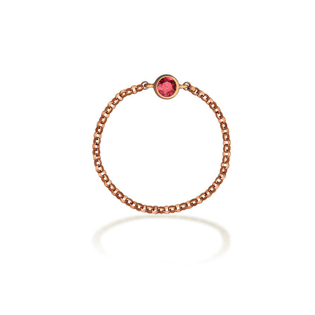 18k Gold July Birth Stone Ruby Chain Ring - Genevieve Collection