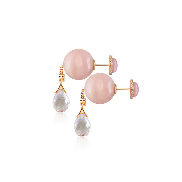 18k Gold Round Pink Shell Diamond Earring with Opal and Quartz - Genevieve Collection