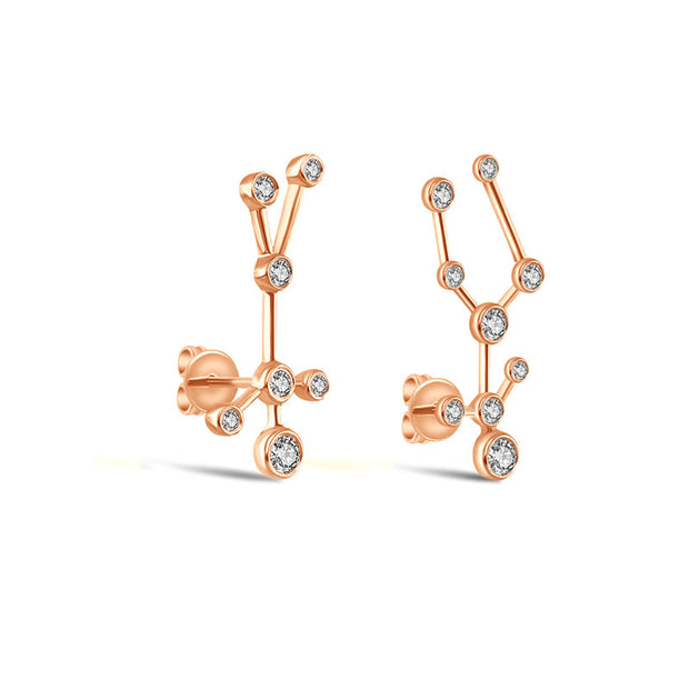 Gemini Zodiac Constellation Earring 18k Gold & Diamond - Genevieve Collection