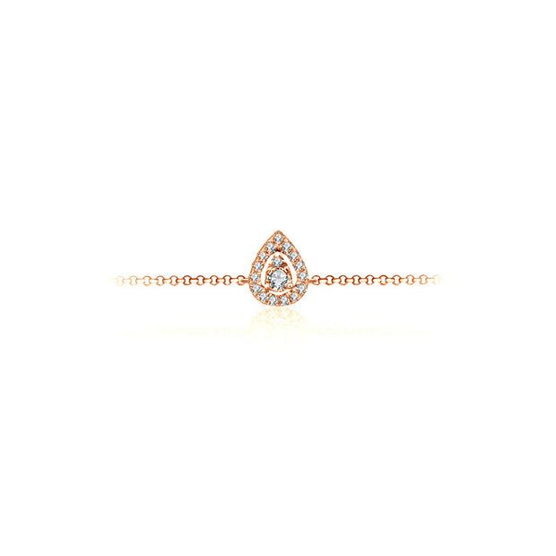 18k Gold Halo Pear-Shaped Adjustable Diamond Bracelet - Genevieve Collection