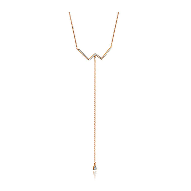 18k Gold W Shape Dangling Diamond Necklace - Genevieve Collection